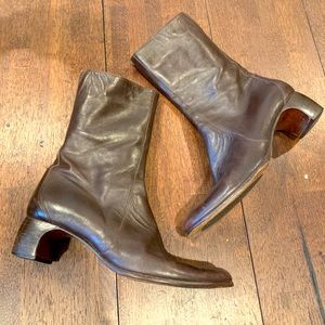 Brown Cole haan 9 midi leather fall heeled boots